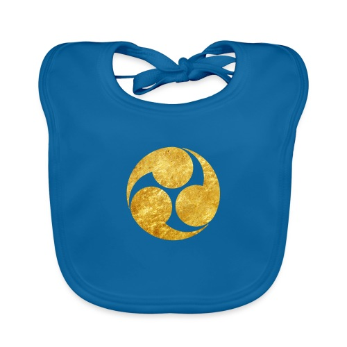Kobayakawa Mon Japanese clan gold on black - Organic Baby Bibs