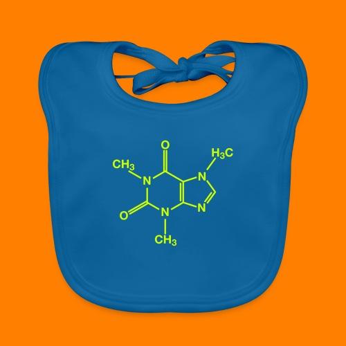 lime green caffeine molecule on navy tee - Organic Baby Bibs