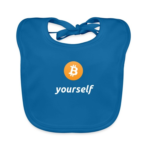 cryptocool b yourself white font -bitcoin logo - Bio-slabbetje voor baby's