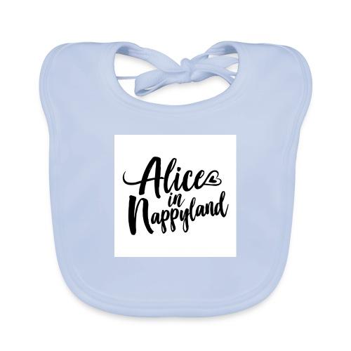Alice in Nappyland Typography Black 1080 1 - Baby Organic Bib