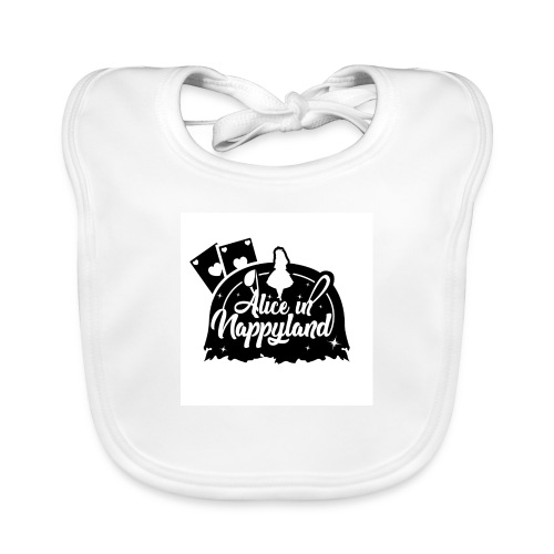 Alice in Nappyland TypographyWhite with background - Baby Organic Bib
