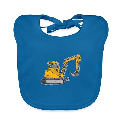 BAGGER, gelbe Baumaschine mit Schaufel und Ketten - Baby Bio-Lätzchen