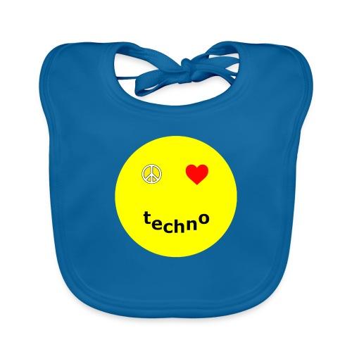 camiseta paz amor techno - Babero de algodón orgánico para bebés
