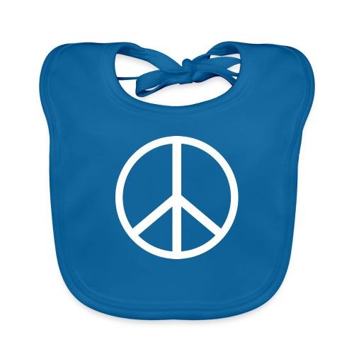 Símbolo de la paz blanco - Babero de algodón orgánico para bebés