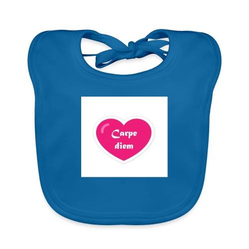 Spread shirt hjärta carpe diem vit text - Ekologisk babyhaklapp