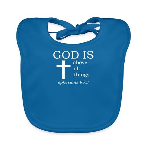 'GOD IS' t-shirt (white) - Organic Baby Bibs