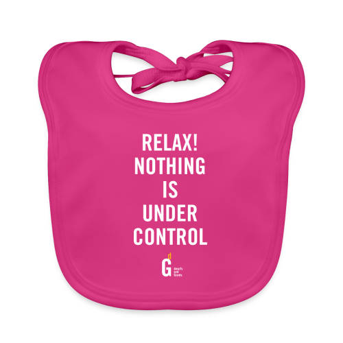 RELAX Nothing is under control III white yellow - Baby Organic Bib