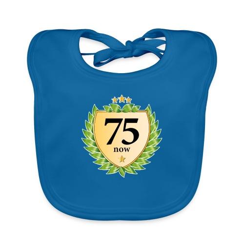 75. Geburtstag Wappen Lorbeerkranz goldene Sterne - Baby Organic Bib