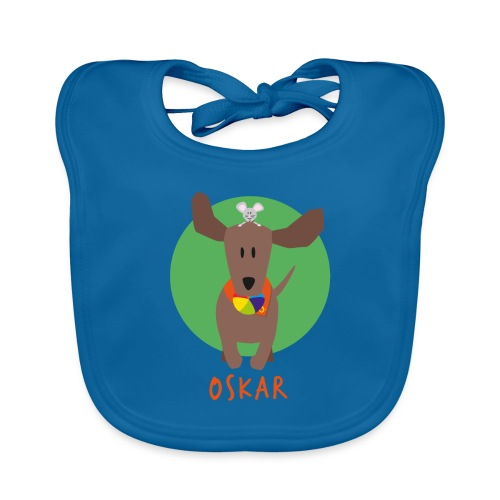 Dackel Oskar mit Maus Fridolin - Baby Bio-Lätzchen