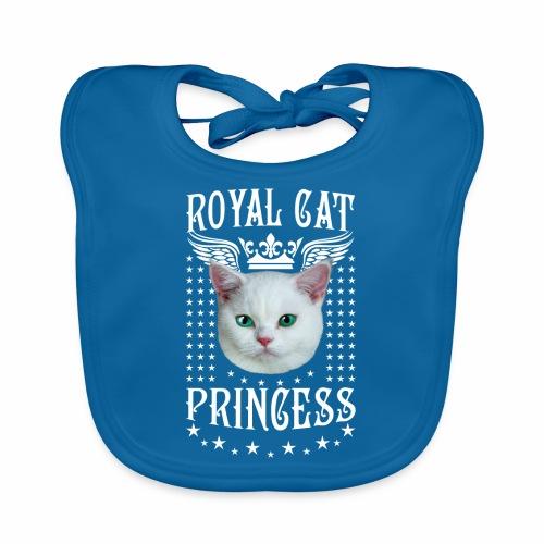 26 Royal Cat Princess white feine weiße Katze - Baby Bio-Lätzchen