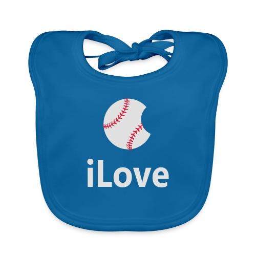 Baseball Logo iLove Baseball - Baby Organic Bib