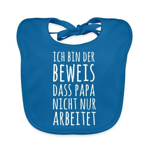 Lustiger Baby Spruch Papa arbeitet Shirt Geschenk - Baby Bio-Lätzchen