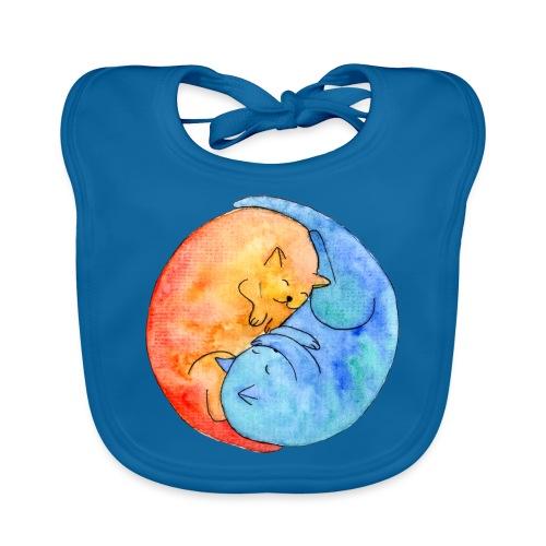 Katzenfreunde Yin Yang orange und blau - Baby Bio-Lätzchen