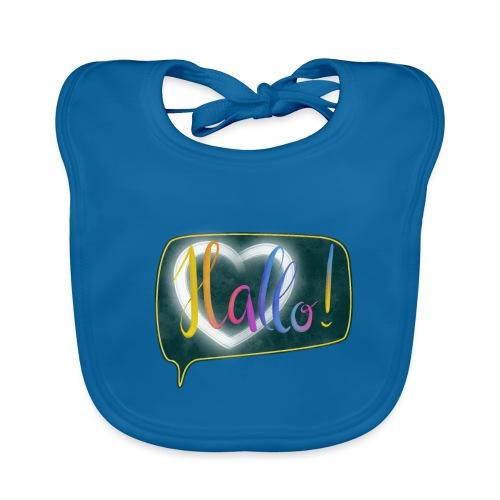 Hallo! Lettering mit Herz in Sprechblase - Baby Bio-Lätzchen