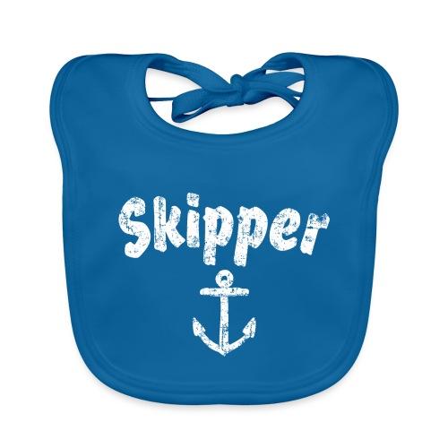 Skipper Anker (Vintage Weiß) Segler Boot & Segeln - Baby Bio-Lätzchen