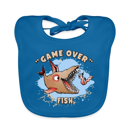 GAME OVER FISH - Cool Textiles, Gifts, Products - Vauvan luomuruokalappu