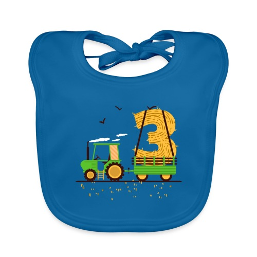 Traktor mit Anhänger 3. Geburtstag Geschenk Drei - Baby Bio-Lätzchen