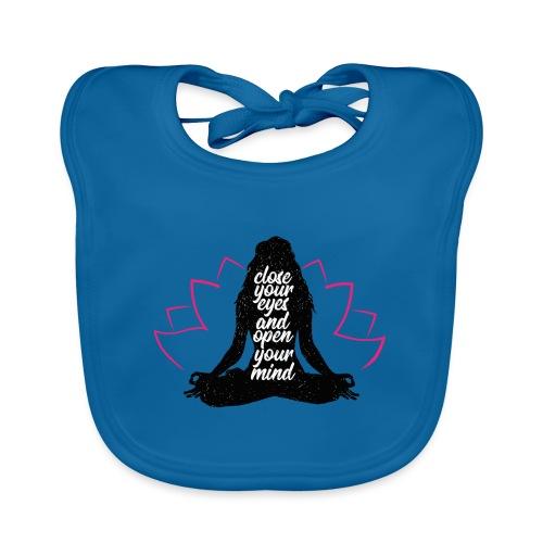 chiudi gli occhi yoga pace amore sport arte - Bavaglino ecologico per neonato