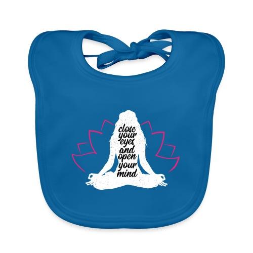close your eyes white yoga peace love sport art - Bavaglino ecologico per neonato