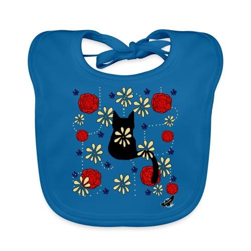 Cat with Flowers by BlackenedMoonArts, w. logo - Baby økologisk hagesmæk