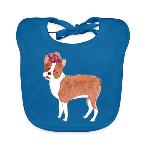 boston terrier with flower - Baby økologisk hagesmæk