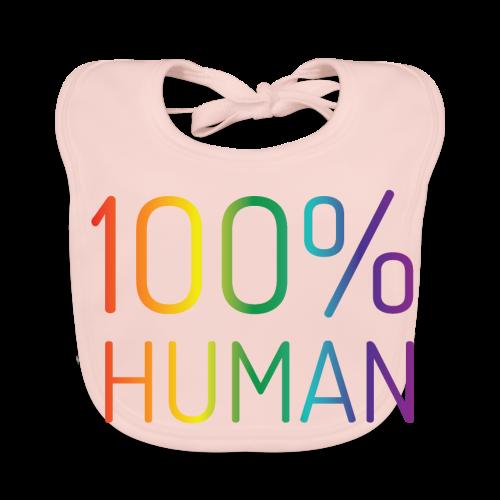 100% Human in regenboog kleuren - Bio-slabbetje voor baby's