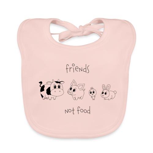 Friends, not food! (Schwarz) - Baby Bio-Lätzchen