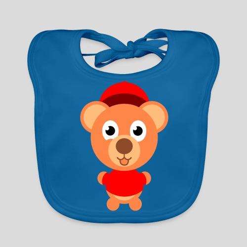 Teddy mit rotem Shirt - Baby Bio-Lätzchen