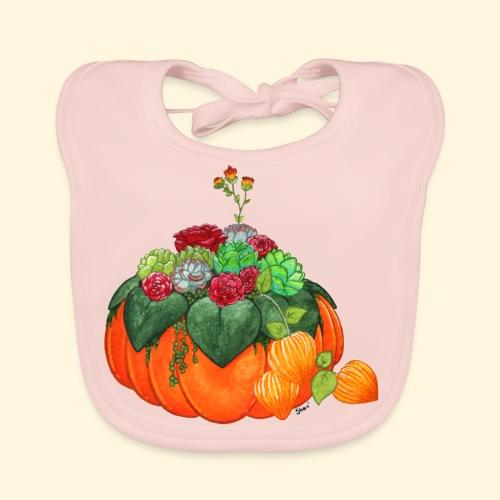 Bouquet d'automne : Succulentes et citrouille - Bavoir bio Bébé