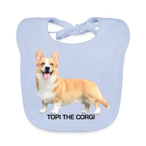 Topi the Corgi - Black text - Baby Organic Bib