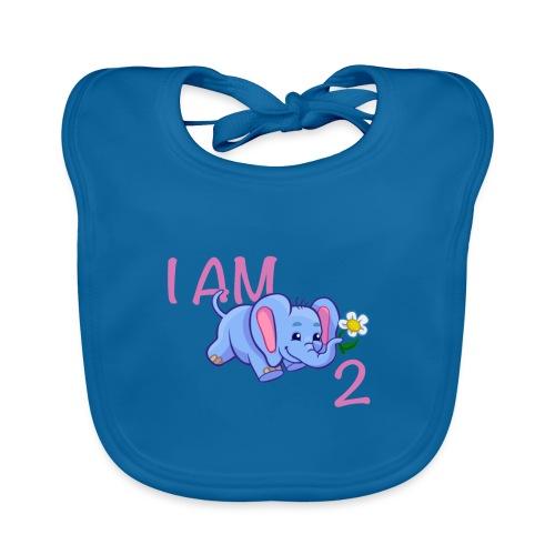 I am 2 - elephant pink - Organic Baby Bibs
