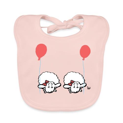 Baby lam tvillinger med ballon (lyserød og lyserød) - Hagesmække af økologisk bomuld