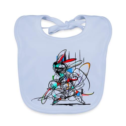Ninja fighter Easter Bunny / Abstract - Baby Organic Bib