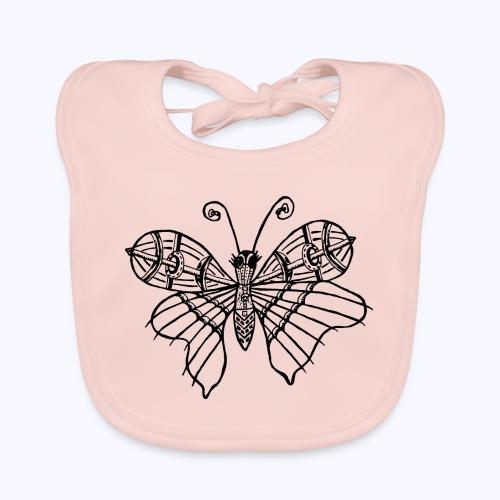 Schmetterling schwarz - Baby Bio-Lätzchen