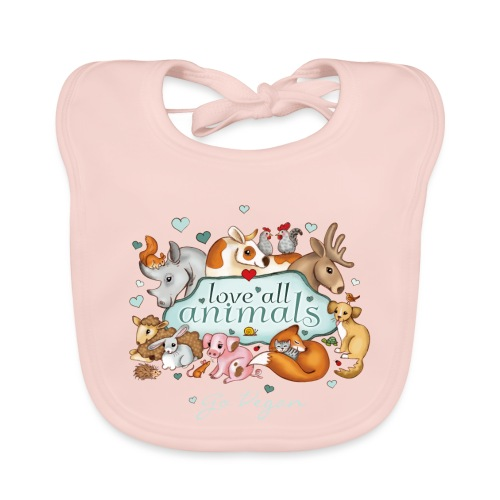love all animals - go vegan - Organic Baby Bibs