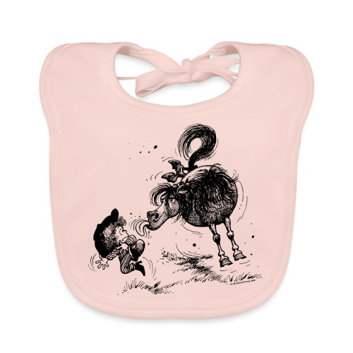 Thelwell 'Pony sticks out his tounge. - Organic Baby Bibs