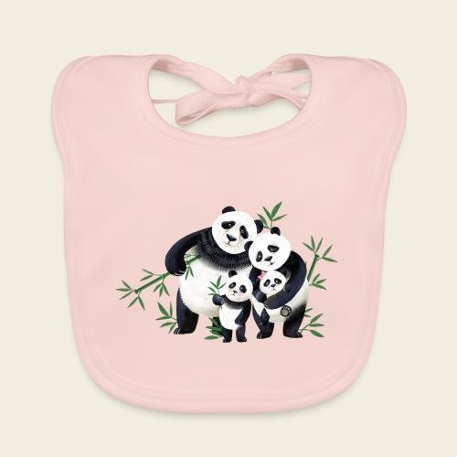Pandafamilie zwei Kinder - Baby Bio-Lätzchen