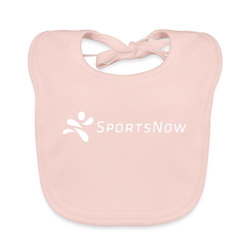 SportsNow-Logo Weiss - Baby Bio-Lätzchen