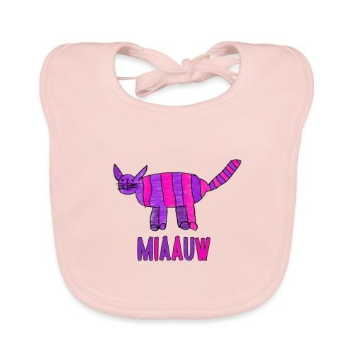 miaauw, paarse poes - Bio-slabbetje voor baby's