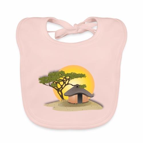african hut vector art - Baby Organic Bib