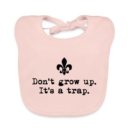 Don't grow up… kl. Lilie Typewriter - Farbe frei - Baby Bio-Lätzchen