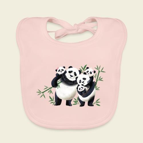 Pandafamilie drei Kinder - Baby Bio-Lätzchen
