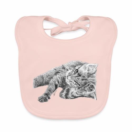 Small kitten in gray pencil - Baby Organic Bib