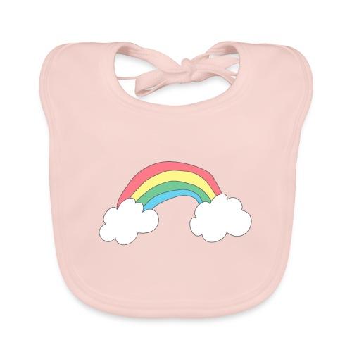 Regnbue - børnetegning - Hagesmække af økologisk bomuld