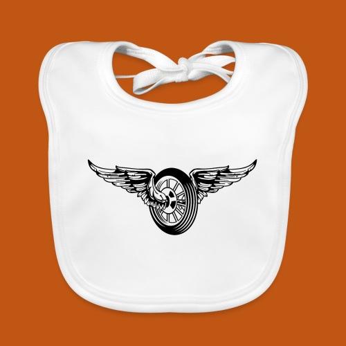 Motorrad / Moped Rad / Angel Wheel 01_schwarz weiß - Baby Bio-Lätzchen