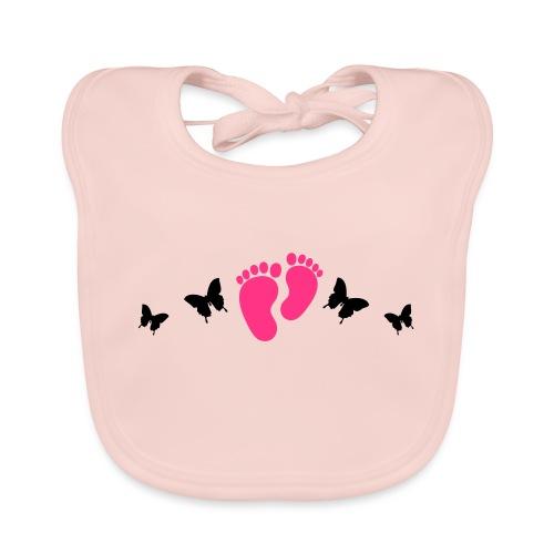 vlinders en baby voetjes - Bio-slabbetje voor baby's
