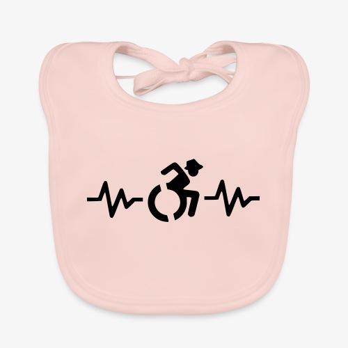 Rolstoel gebruiker met hartslag 001 - Bio-slabbetje voor baby's