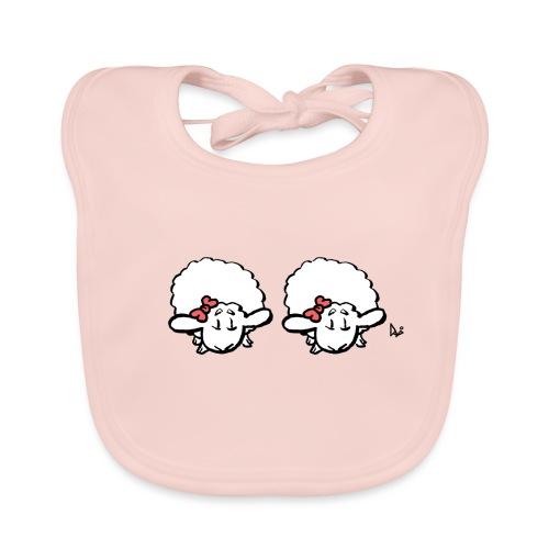 Baby Lamb Twins (rosa y rosa) - Babero de algodón orgánico para bebés
