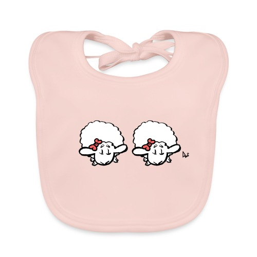 Vauvan karitsan kaksoset (vaaleanpunainen ja vaaleanpunainen) - Vauvan luomuruokalappu