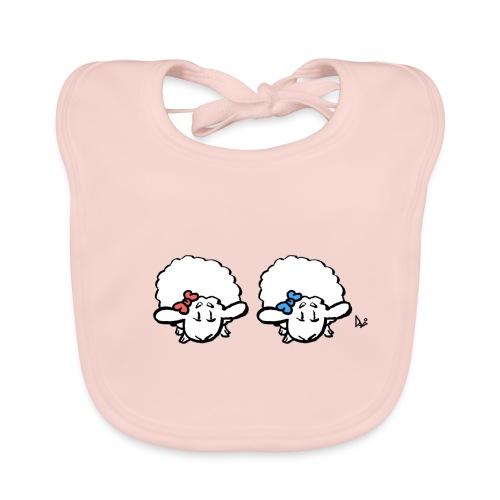Baby lam tvillinger (pink & blå) - Hagesmække af økologisk bomuld